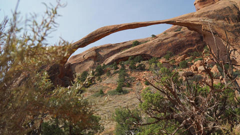 Dolly Shot of Landscape Arch in Arches National Park Live Action