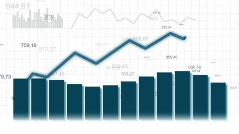 Growing chart on white bg CG動画