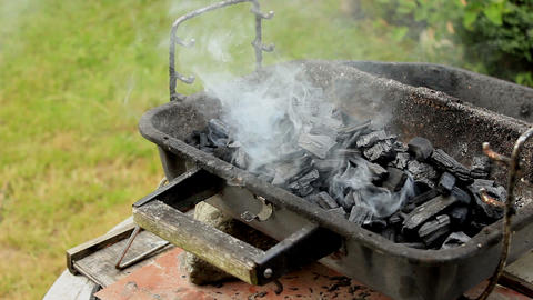 Smoke rising from charcoal placed in grill arranged in a garden Live Action