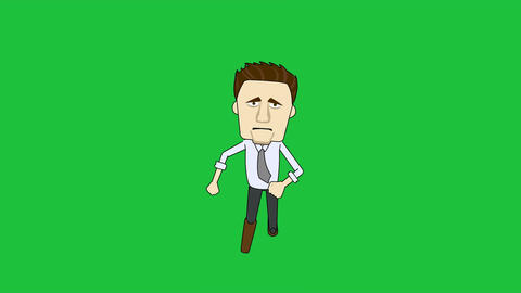 Cartoon Businessman Running Toward Viewer: Loop + Matte Animation