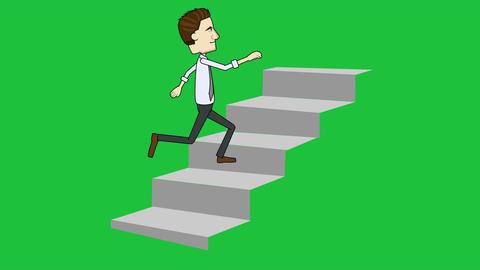 Cartoon Businessman Running Up Stairs: Loop + Matte stock footage
