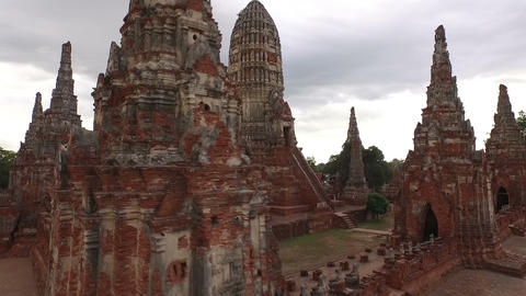 Aerial View Of The Wat Chaiwatthanaram At Ayutthaya Historical Park In Thailand stock footage