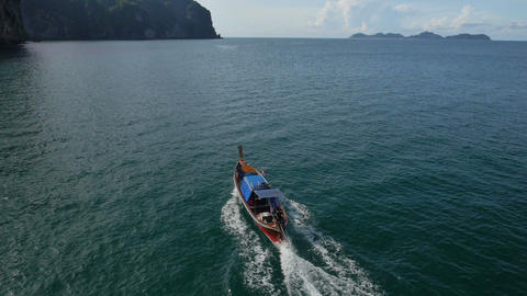 Aerial view of Long-tail boat at Koh Mook, Thailand Footage