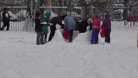 Winter Children Fun Snow Background Live Action