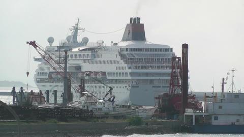 Port in Ishigaki Okinawa 39 cruise ship leaving Stock Video Footage
