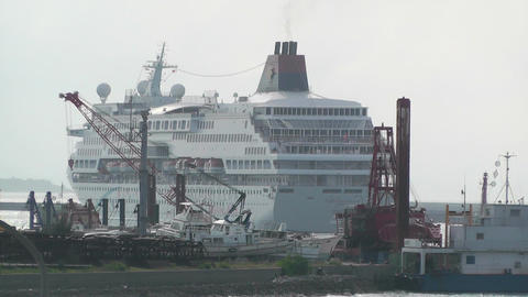 Port in Ishigaki Okinawa 39 cruise ship leaving Stock Video Footage