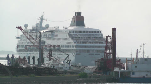 Port in Ishigaki Okinawa 39 cruise ship leaving Footage