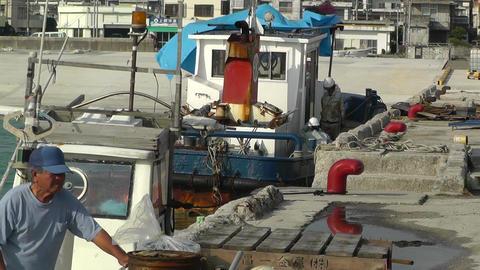 Port in Okinawa Islands 08 fisherman Stock Video Footage