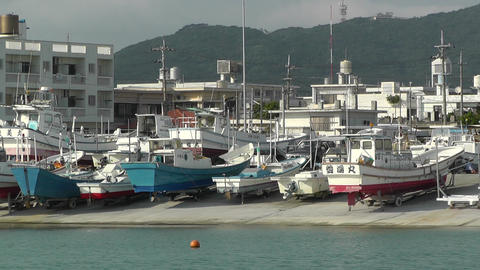 Port in Okinawa Islands 10 Footage