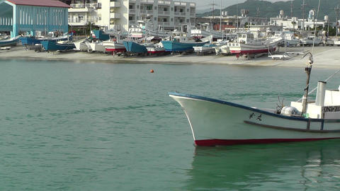 Port in Okinawa Islands 12 fisherman boat Footage