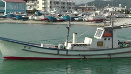 Port in Okinawa Islands 12 fisherman boat Stock Video Footage