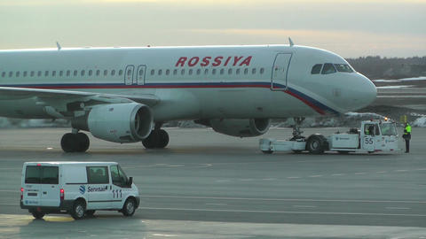 Rossyia Airlines at Helsinki Vantaa Airport 02 handheld Stock Video Footage