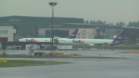 Singapore Changi Airport 02 fedex Stock Video Footage