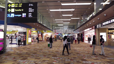 Singapore Changi Airport 06 60fps native slowmotion handheld Stock Video Footage