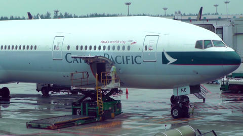 Singapore Changi Airport 08 cathay pacific Stock Video Footage