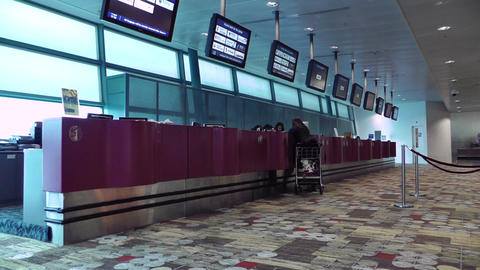 Singapore Changi Airport 12 help desk service center Stock Video Footage