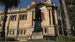 Sir Richard Bourke Monument and State Library of New... Stock Video Footage
