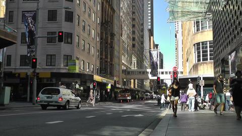 Sydney Cambridge Street Market Street traffic 01 Stock Video Footage