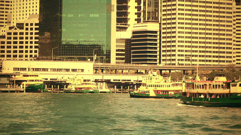 Sydney Circular Quay Port 70s old film stylized 02 Stock Video Footage