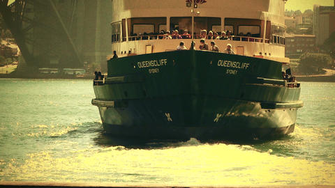 Sydney Circular Quay Port 70s old film stylized 04 Stock Video Footage