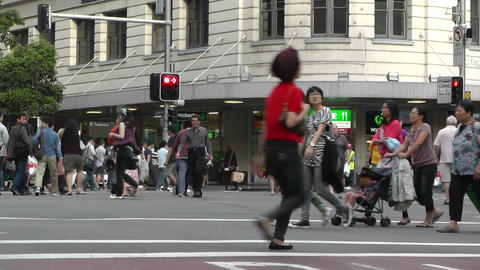 Sydney Downtown George Street 03 pedestrians Stock Video Footage