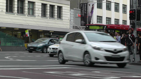 Sydney Downtown George Street 05 traffic Stock Video Footage
