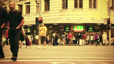 Sydney George Street 70s old film stylized 02 Stock Video Footage