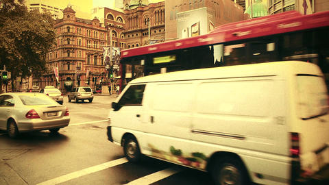 Sydney George Street 70s old film stylized 06 Stock Video Footage