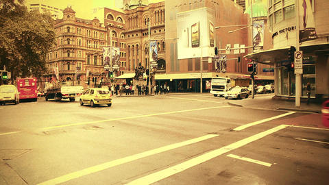 Sydney George Street 70s old film stylized 06 Footage