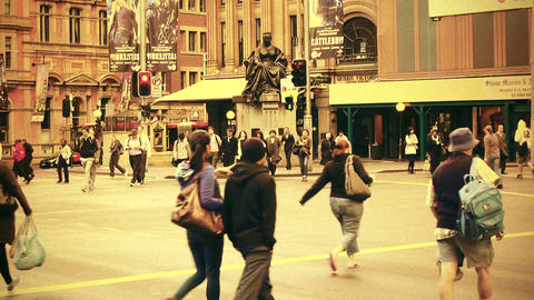 Sydney George Street 70s old film stylized 08 Stock Video Footage