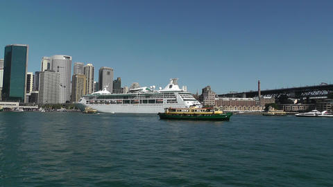 Sydney Harbour and Circular Quay Port 01 Stock Video Footage