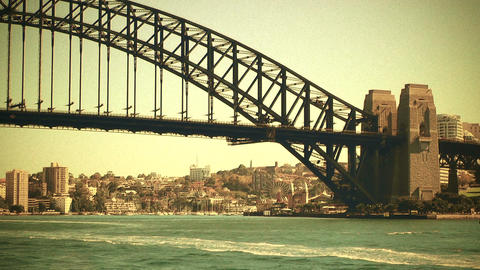 Sydney Harbour Bridge 70s old film stylized 02 Stock Video Footage