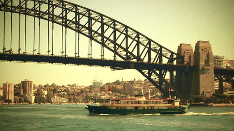 Sydney Harbour Bridge 70s old film stylized 02 Footage