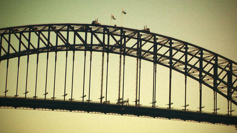 Sydney Harbour Bridge 70s old film stylized 04 Stock Video Footage