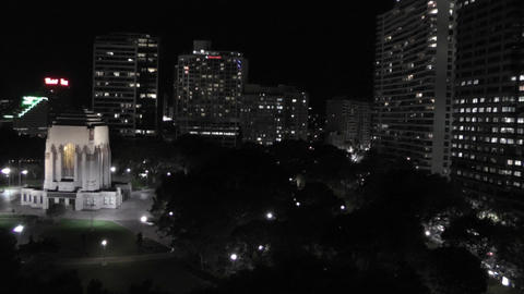 Sydney Hyde Park and Anzac Memorial at Night 01 Footage