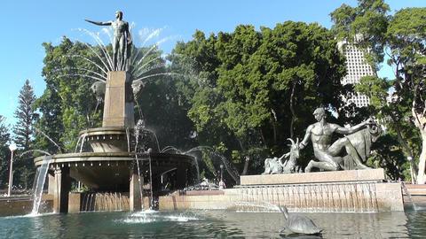 Sydney Hyde Park Archibald Fountain 02 Stock Video Footage