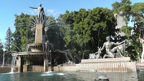 Sydney Hyde Park Archibald Fountain 02 Stock Video Footage