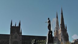 Sydney Hyde Park Saint Marys Cathedral Archibald Fountain 02 Stock Video Footage