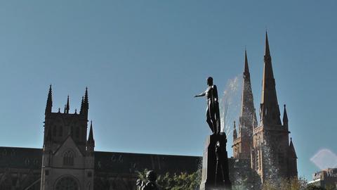 Sydney Hyde Park Saint Marys Cathedral Archibald Fountain 02 Stock Video Footage
