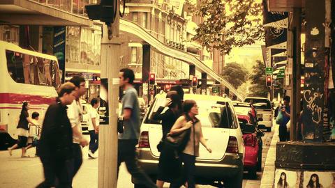 Sydney Liverpool Street 70s old film stylized Stock Video Footage