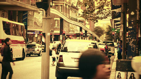 Sydney Liverpool Street 70s old film stylized Stock Video Footage