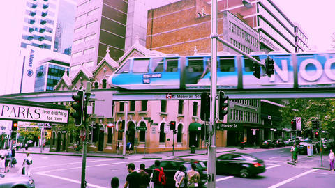 Sydney Market Street Monorail 70s old film stylized Stock Video Footage