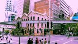 Sydney Market Street Monorail 70s old film stylized Footage