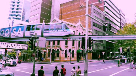 Sydney Market Street Monorail 70s old film stylized Footage