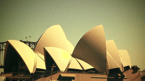 Sydney Opera House 70s old film stylized 01 Stock Video Footage