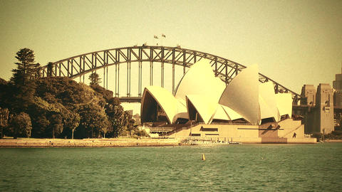 Sydney Opera House and Harbour Bridge 70s old film stylized 01 Footage