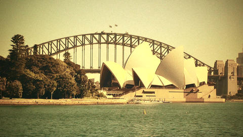 Sydney Opera House and Harbour Bridge 70s old film... Stock Video Footage