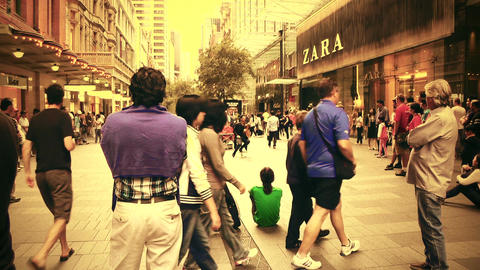 Sydney Pitt Street 70s old film stylized Stock Video Footage