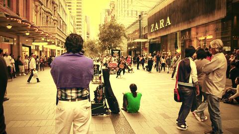 Sydney Pitt Street 70s old film stylized Stock Video Footage