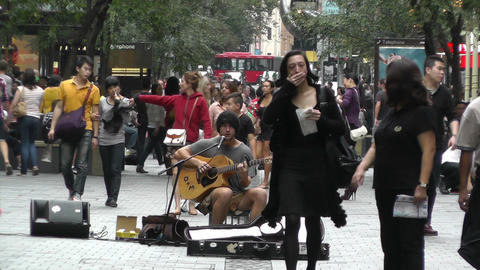 Sydney Pitt Street Musician 05 Stock Video Footage